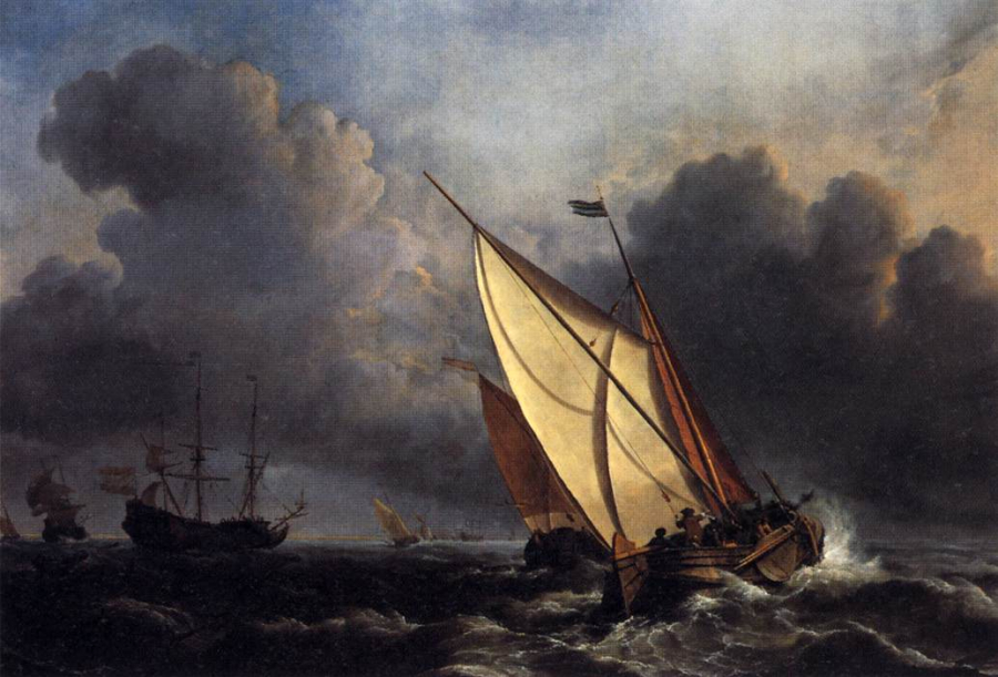 Dutch-fishing-boats-in-a-storm